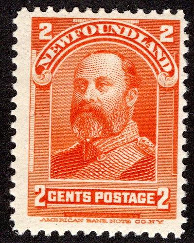 72, NSSC, Newfoundland,2¢ Edward VII, orange, MLHOG, F