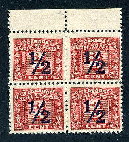 van Dam FX111 - 1/2¢ on 3/8¢- MNH - Block of 4 - Blind Perfs