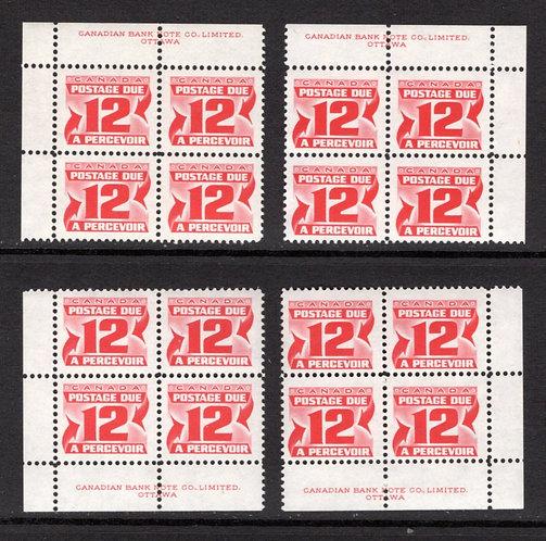 J36iii, Scott, 12c, HB, VF, matched plate block of 4,2nd Centennial issue, MNHO
