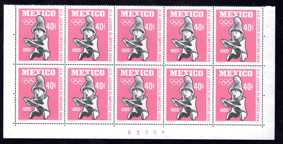 Scott 966, Mexico, Plate Block of 10, MNHOG, 1965, 40c, Olympics