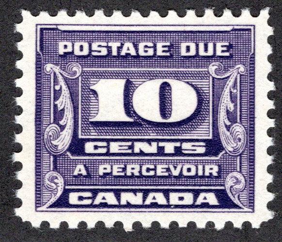 J14, Scott, 10c, VF, 3rd issue, MLHOG, Canada Postage Due
