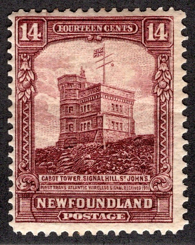 147, NSSC, Newfoundland, 14c red brown, Cabot Tower,MLHOG, Pictorial Issue I,