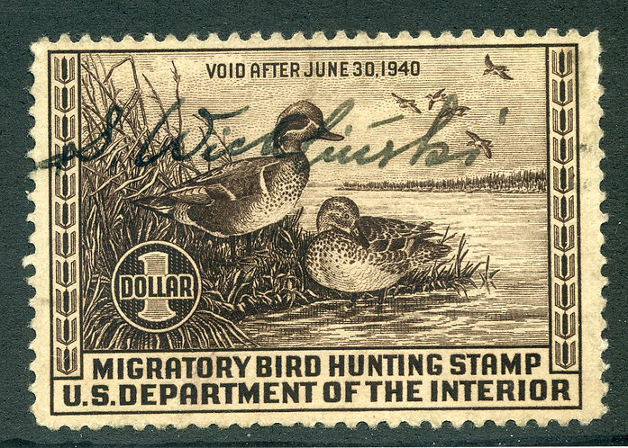 RW6 1939 US Department of the Interior - Green-Winged Teal - $1 Used Duck