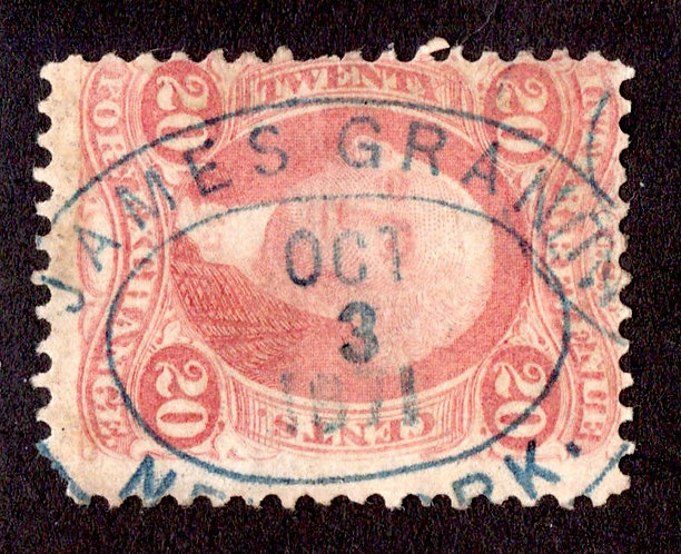 """Scott R41c,20c Foreign Exchange, red, perf, blue h/s """"JAMES GRANT / OCT 3 1871"""