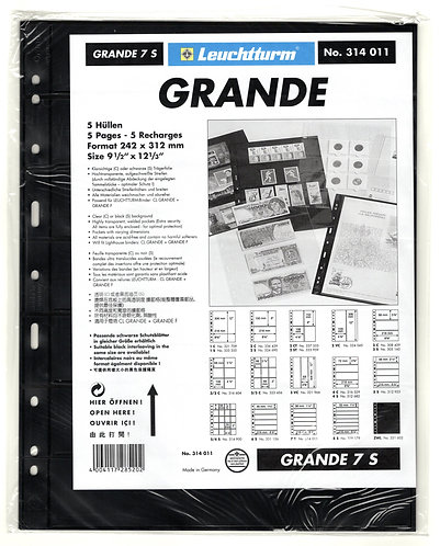 GRANDE 7S sheets - Black - 7 horizontal pockets - Pack of 5 - Lighthouse