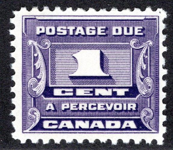 J11, Scott, 1c, VF, 3rd issue, MLHOG, Canada Postage Due