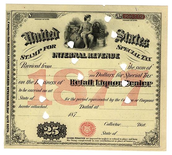 Special Tax Stamp, $25, USIR, 1877, Retail Liquor Dealer