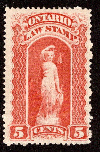 "van Dam OL46, Canada, Ontario, MLHOG, Law Stamp, 5c, blue ""C"", p.12"