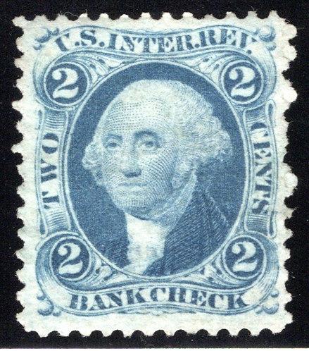 R5c - 2c - Bank Check - Blue - perf - unused, NG - VF/XF