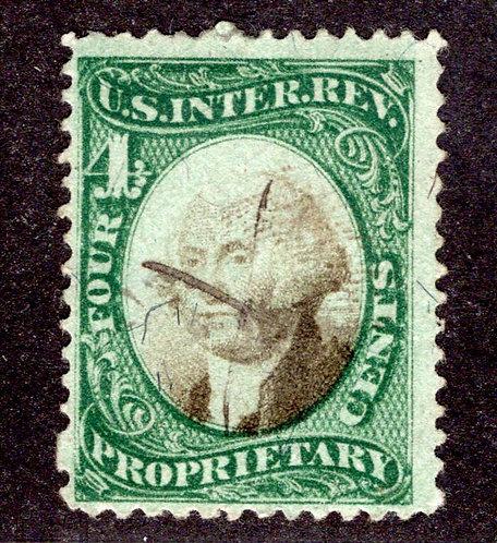 Scott RB4a, 4c green & black, violet Paper, Proprietary, Used