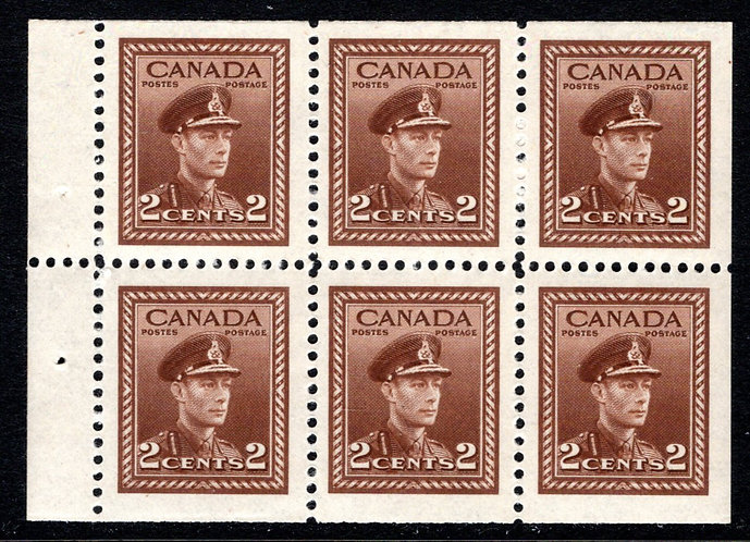 Scott 250b, 2c, King George VI War Issue, booklet pane of 6 x 2c, MNHOG, VF