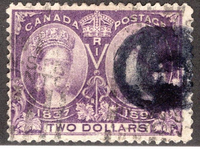 62 Scott - $2 dark purple, F, Used, Diamond Jubilee Issue, Canada Postage Stamp