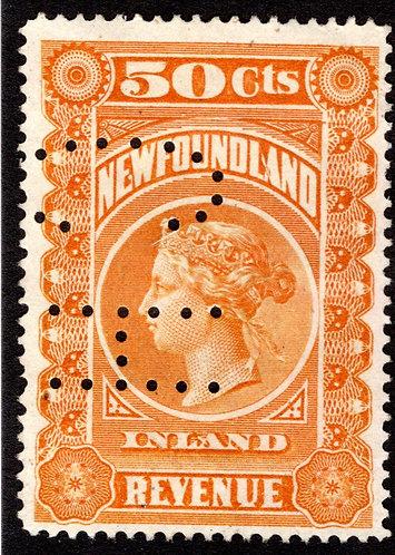 R4, NSSC, C.H. cancel (not considered perfin)*,50corange, F/VF, Inland Revenue