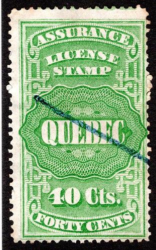 QA9, van Dam, 40c green, Canada, Quebec, License Assurance, F, Revenue Stamp