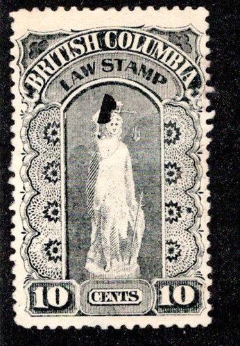van Dam BCL5 - 10c black, Used, British Columbia Law Stamp,1888-91, Second Serie