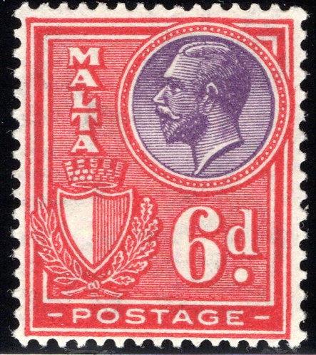 140 Malta, King George, 6p, red & violet, MLHOG,F