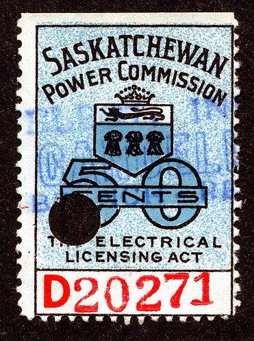 """van Dam SE21 - Used - 50c Blue """"D"""" 4mm # Saskatchewan Power Commission"""