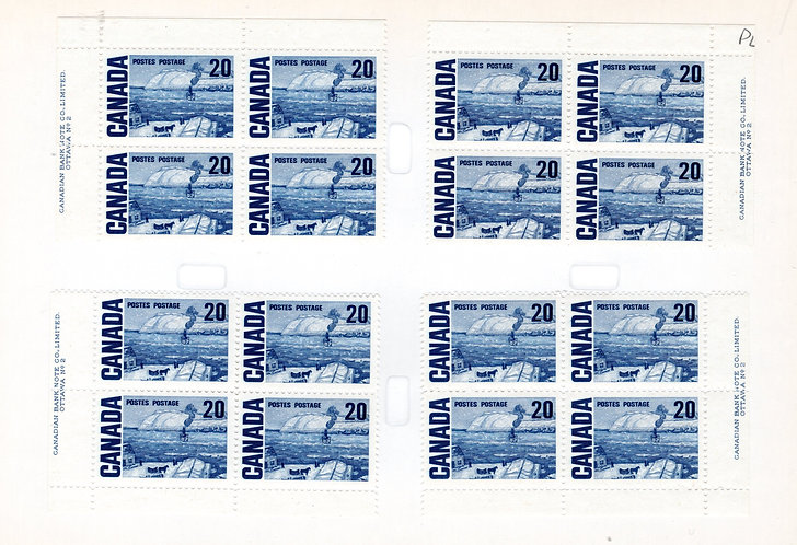 464iii Scott, 20c, Centennial Definitive, LF/PVA, Matched Plate Blocks, PB2