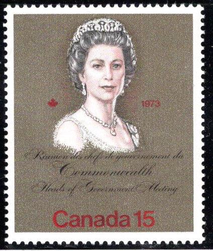 "621i, Scott, Canada, 15c, ""bronze"" MNHOG, QEII Royal Visit,postage stamp"
