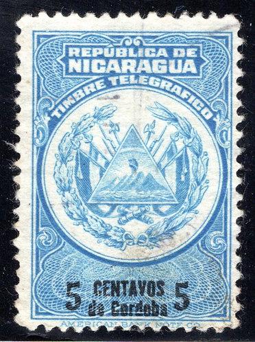 RH186, H186, Type 60, 5c blue and black, Nicaragua Telegraph Stamp