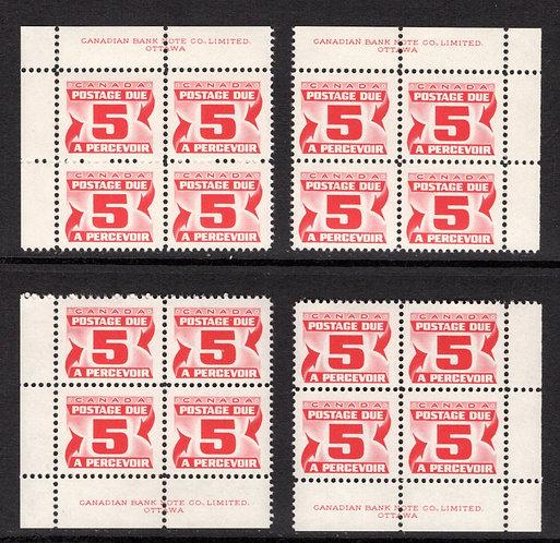 J32a, Scott, 5c, VF, matched plate block of 4,2nd Centennial issue, MNHOG