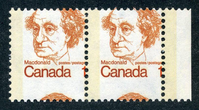 586 Canada - Misperf Error on horizontal pair - MNH- Sir John A. Macdonald