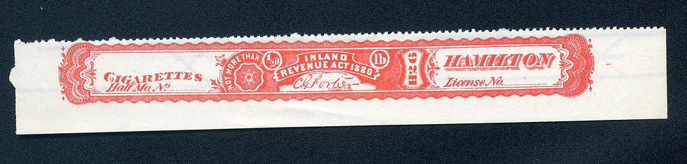 Ryan RC37n - 1881 Cigarette Stamp - Not More Than 1/20th pound - Warehouse