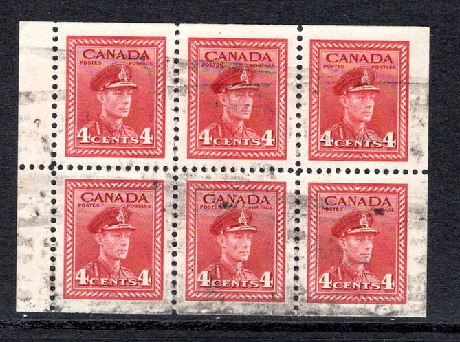 "254a, Scott, 4c , VF, Used, ""War"" issue, booklet pane of 6x4c (Bk 36), Canada"