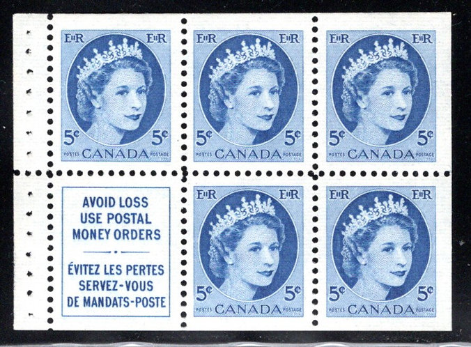341aiii, Canada, booklet pane, stitched, 5c, blue, QEII Wilding, MNH, Postage St