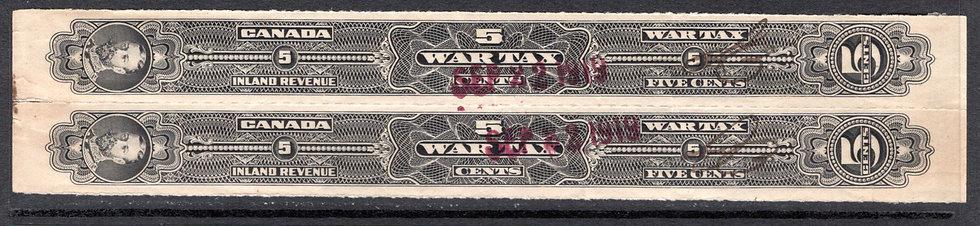 FWT24, van Dam, pair, 1915 Wine Strips, 5c, Head Sideways, Rouletted