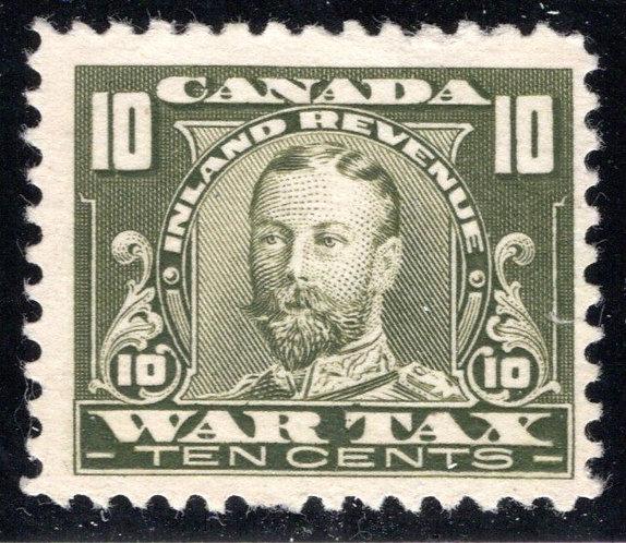 van Dam FWT13,MNG, 10¢ olive green, 1920 George V, War Tax