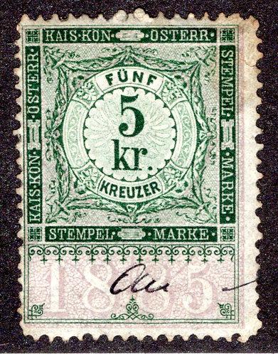 Austria - Forbin 177- 1885 Revenue 5 kr. Stempelmarke