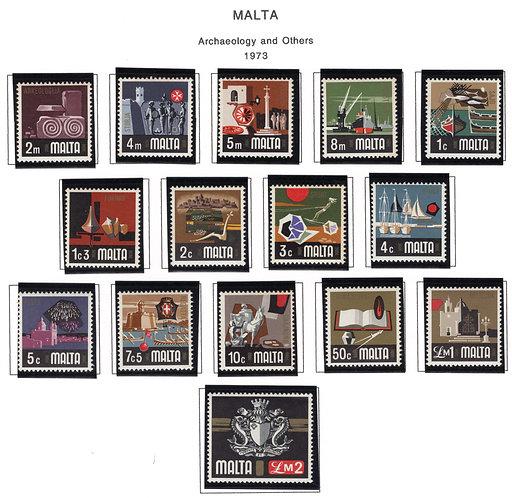 454-468 Malta, MNH Set,Archaelogy and Others, 1973