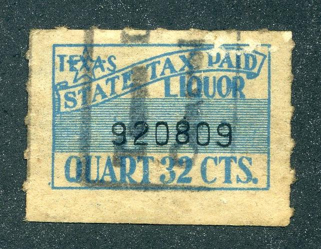 TX L46 - Texas - Used - State Tax Paid - Quart 32c - Liquor