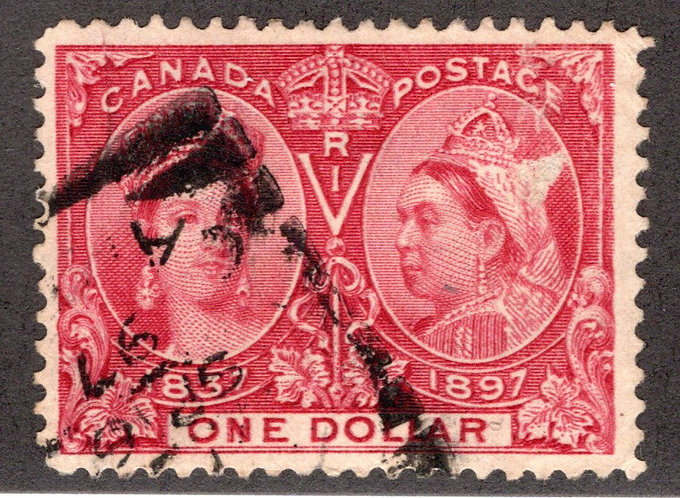 Scott 61, $1 Lake, F, Used, Diamond Jubilee Issue, Canada Postage Stamp C/V $600