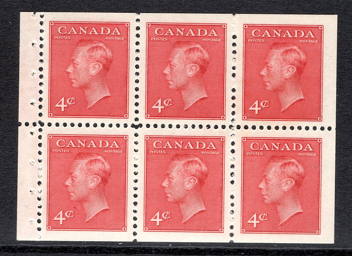 287bi, Scott, booklet pane of 3 x 4c (stitched - BK41c), MNHOG, VF, KGVI
