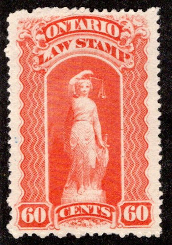"van Dam OL53, Canada, Ontario, MNG, Law Stamp, trace of blue ""C"", 60c, p.12"