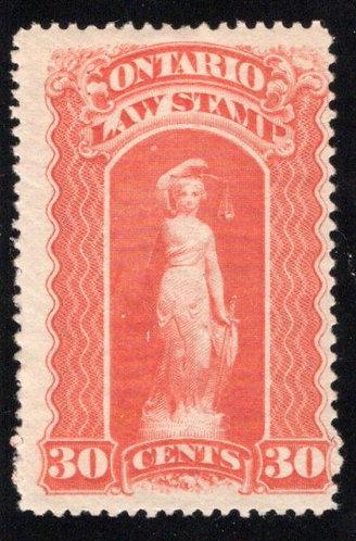 "van Dam OL49, Canada, Ontario, MLHOG, Law Stamp, 30c, blue ""C"", p.12"