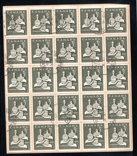 443q Scott, 3c olive, Christmas, Wise Men, VF, Miniature Pane of 25 (5x5), Used