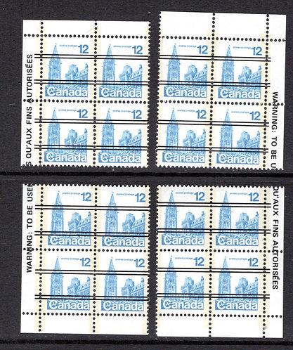 714xx Scott, 12c, Houses of Parliament, Matched Plate Block Set, DF, MNHOG, F/VF