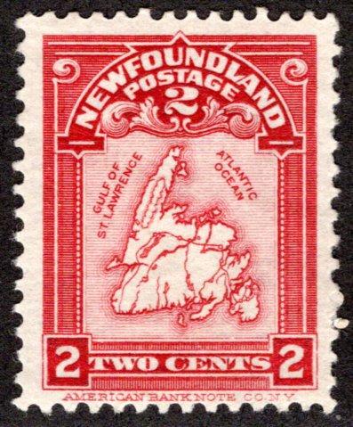 77, NSSC, Newfoundland, 2c, rose Carmine, Map of Newfoundland, MLHOG, F/VF