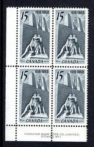 "486, Scott, ""Armistice"", 15c, slate,PB1, LL, MNHOG, Canada Postage Stamps"