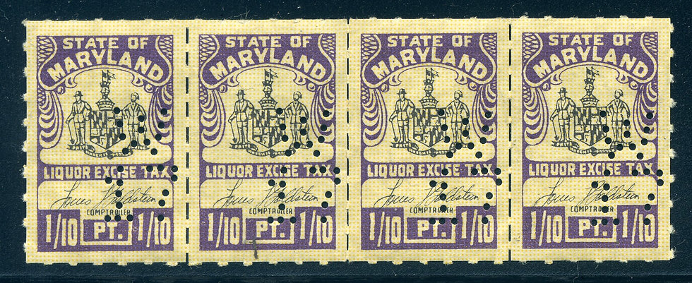 "MD L39 Perfin ""W17"" - Strip of 4 - MNH - Maryland"