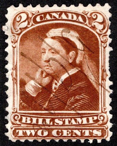 van Dam FB38, 2c, Used, F+,Third Bill Issue Revenue Stamp, Color Error