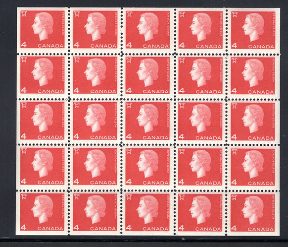 404b Scott, 4c carmine, VF, QEII Cameo Issue, Miniature Pane of 25 (5x5) MNHOG