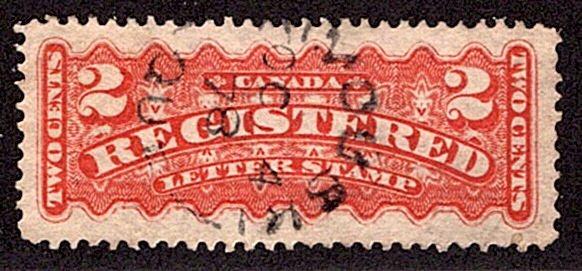 F1, 2c, Registration,Canada, p12 , orange, Used, Rimouski, Que split-ring Cancel