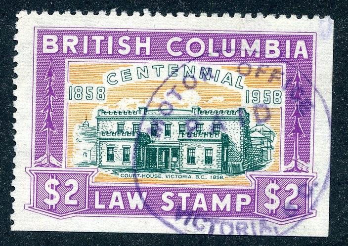 van Dam BCL50 - $2 magenta - Used -British Columbia Law Stamp - 1958 Centennial