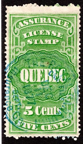 QA5, van Dam, 5c green, Canada, Quebec, License Assurance, F, Revenue Stamp