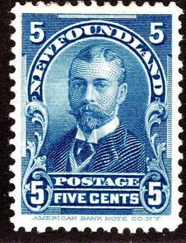 76, NSSC, Newfoundland, 5¢ Duke of York, blue, MLHOG, XF/SUPERB, Faultless andN