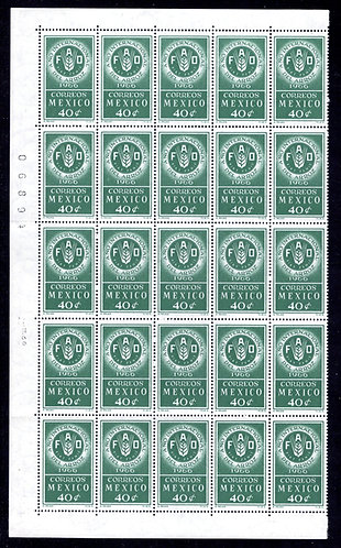 Scott 973, Mexico, Half Sheet of 50, MNHOG, 1966, 40c, FAO Emblem, Rice